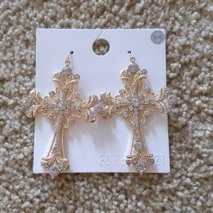 Oversized Statement Cross Earrings